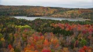 AX150_336 - 6K stock footage aerial video approaching, flying over colorful forest, Thurman W Dix Reservoir, autumn, Orange, Vermont