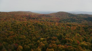 AX150_461 - 6K stock footage aerial video flying over colorful, densely forested hills in autumn, North Pomfret, Vermont