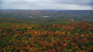 AX151_004 - 6K stock footage aerial video flying over colorful, densely forested hills, overcast, autumn, Quechee, Vermont