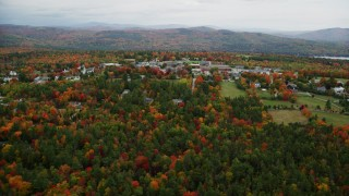 AX151_098 - 6K stock footage aerial video approaching Colby Sawyer College, autumn, New London, New Hampshire