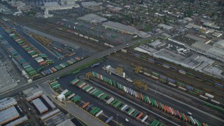 AX153_017 - 6K stock footage aerial video of a bird's eye of shipping containers at a train depot, Portland, OR