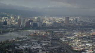 AX153_019 - 6K stock footage aerial video of Downtown Portland on a partly cloudy day, Oregon