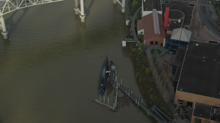 AX153_072 - 6K stock footage aerial video of USS Blueback submarine docked in Southeast Portland, Oregon