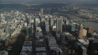 AX153_075 - 6K stock footage aerial video orbiting Skyscrapers in Downtown Portland, Oregon
