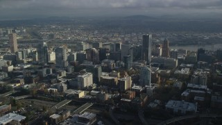 AX153_088 - 6K stock footage aerial video on approach to skyscrapers in Downtown Portland, Oregon