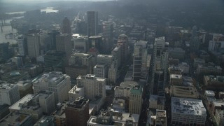 AX153_107 - 6K stock footage aerial video of Park Avenue West Tower, Tall skyscrapers in Downtown Portland, Oregon