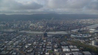 AX153_129 - 6K stock footage aerial video of Downtown Portland and Willamette River seen from Lloyd District in Oregon