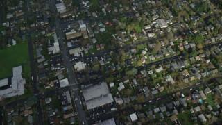 AX153_131 - 6K stock footage aerial video of a bird's eye view of suburban neighborhoods in Northeast Portland, Oregon