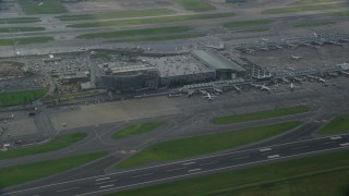 AX153_137 - 6K stock footage aerial video of a reverse view of Portland International Airport in Oregon