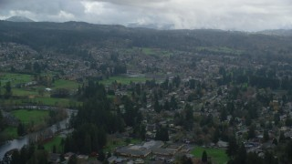 AX153_163 - 6K stock footage aerial video of small town suburban homes in Washougal, Washington