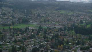 AX153_164 - 6K stock footage aerial video of elementary and high schools in Washougal, Washington