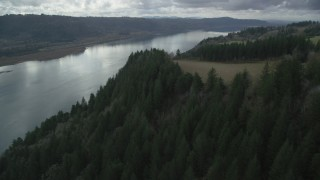 AX153_188 - 6K stock footage aerial video flying over cliff top trees in Columbia River Gorge, Oregon