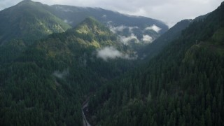AX154_041 - 6K stock footage aerial video approaching the Eagle Creek Trail canyon in Cascade Range, Hood River County, Oregon