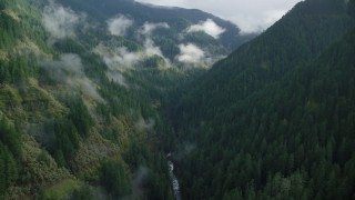 AX154_043 - 6K stock footage aerial video flying through canyon to follow Eagle Creek Trail, Cascade Range, Hood River County, Oregon