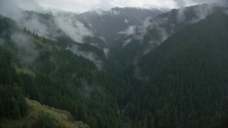 AX154_050 - 6K stock footage aerial video following Eagle Creek Trail through a canyon with mist and forest in Cascade Range, Hood River County, Oregon