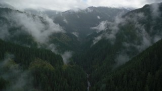 AX154_051 - 6K stock footage aerial video following Eagle Creek Trail through mountain canyon in Cascade Range, Hood River County, Oregon