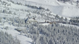 AX154_088 - 6K stock footage aerial video orbiting the Timberline Lodge on Mount Hood, Oregon