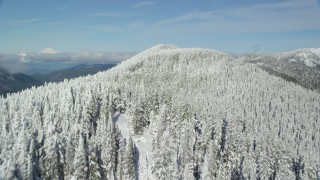 AX154_105 - 6K stock footage aerial video flying over a snow forest on top of a mountain ridge, Cascade Range, Oregon