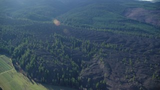 AX154_140 - 6K stock footage aerial video flying by lava flow and evergreen forest by Parkdale, Oregon