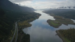 AX154_182 - 6K stock footage aerial video of Interstate 84, Columbia River and Pierce Island in Columbia River Gorge