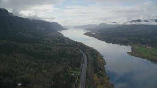 AX154_183 - 6K stock footage aerial video following Interstate 84 through the Columbia River Gorge