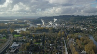 AX154_211 - 6K stock footage aerial video approaching the Washougal River and the Georgia Pacific Paper Mill in Camas, Washington