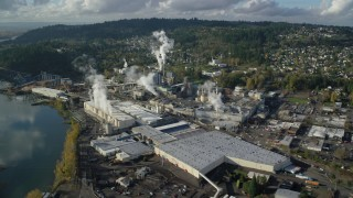 AX154_213 - 6K stock footage aerial video approaching the Georgia Pacific Paper Mill in Camas, Washington
