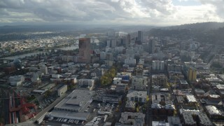 AX154_242 - 6K stock footage aerial video approaching US Bancorp Tower and downtown skyscrapers in Downtown Portland, Oregon
