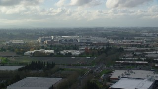 AX154_251 - 6K stock footage aerial video approaching the Intel Ronler Acres Campus in Hillsboro, Oregon