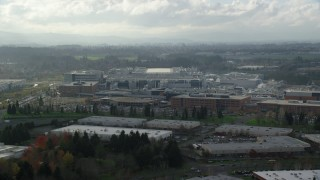 AX154_252 - 6K stock footage aerial video flying by the Intel Ronler Acres Campus in Hillsboro, Oregon
