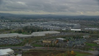AX155_002 - 6K stock footage aerial video flying by the Intel Ronler Acres Campus, Hillsboro, Oregon