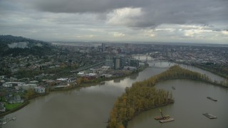 AX155_021 - 6K stock footage aerial video of South Waterfront condo high-rises, Willamette River, and Downtown Portland