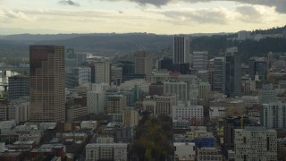 AX155_039 - 6K stock footage aerial video of US Bancorp Tower and skyscrapers in Downtown Portland, Oregon