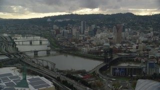 AX155_041 - 6K stock footage aerial video of a view of Downtown Portland, Oregon, across the Willamette River