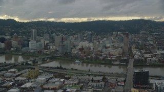 AX155_043 - 6K stock footage aerial video of bridges over the Willamette River and Downtown Portland, Oregon