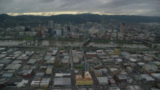 AX155_044 - 6K stock footage aerial video of bridges over the Willamette River leading to Downtown Portland, Oregon