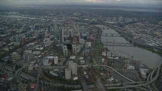AX155_082 - 6K stock footage aerial video approaching Downtown Portland cityscape and the Willamette River in Oregon
