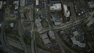 AX155_083 - 6K stock footage aerial video of a bird's eye view of city streets through Downtown Portland, Oregon