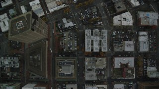 AX155_086 - 6K stock footage aerial video of a bird's eye view of city streets, US Bancorp Tower, and buildings in Downtown Portland, Oregon