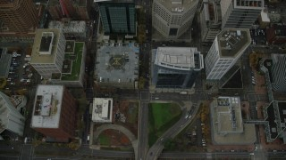 AX155_097 - 6K stock footage aerial video of a bird's eye view of SW Madison Street and parks in Downtown Portland, Oregon
