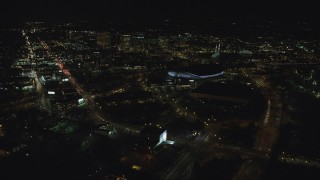 AX155_429 - 6K stock footage aerial video approaching arenas and convention center in Northeast Portland, Oregon