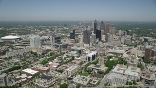 AX36_003 - 5K stock footage aerial video approaching Downtown Atlanta skyscrapers and office buildings, Georgia
