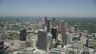 AX36_004 - 5K stock footage aerial video approaching Downtown Atlanta skyscrapers, Georgia