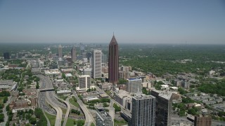 AX36_007 - 5K stock footage aerial video approaching Bank of America Plaza, Midtown Atlanta, Georgia