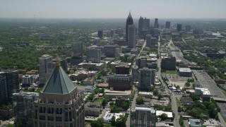 AX36_017 - 5K stock footage aerial video of Midtown and Downtown Atlanta skycrapers, Georgia