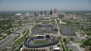 AX36_033 - 5K stock footage aerial video flying over Turner Field toward skyline, Downtown Atlanta