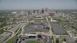 AX36_033E - 5K stock footage aerial video flying over Turner Field toward the skyline of Downtown Atlanta, Georgia