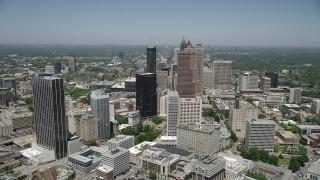 AX36_037 - 5K stock footage aerial video approaching skyscrapers, Downtown Atlanta, Georgia