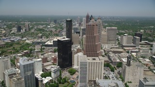 AX36_038 - 5K stock footage aerial video approaching skyscrapers, Downtown Atlanta, Georgia