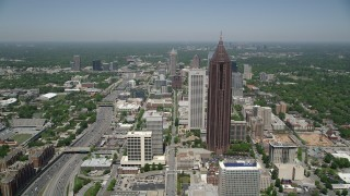 AX36_041 - 5K stock footage aerial video approaching Bank of America Plaza and AT&T Building, Midtown Atlanta